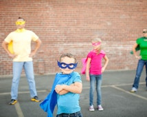 Easy Kids Costume - BASIC CAPE SET - affordable set includes - Single sided Super Hero Cape - Any color plus hero mask