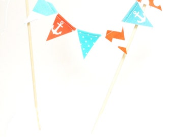 Nautical Cake Banner Topper, Mini Cake Bunting, Fabric Pennant Flags, Birthday Party, Baby Shower Banner Cake, Smash Cake Photo Prop, Anchor