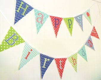 Happy Birthday Bunting, Happy Birthday Banner, Fabric Pennant Flags, Red, Lime, Mint, Navy, Photo Prop, Party Garland, Happy Birthday Sign