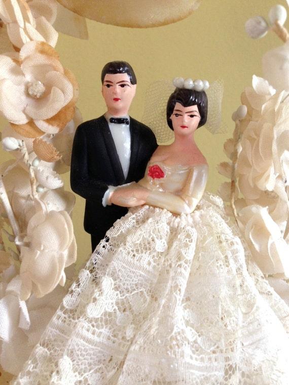 Vintage Wedding Cake Topper Vintage Bride and Groom Vintage