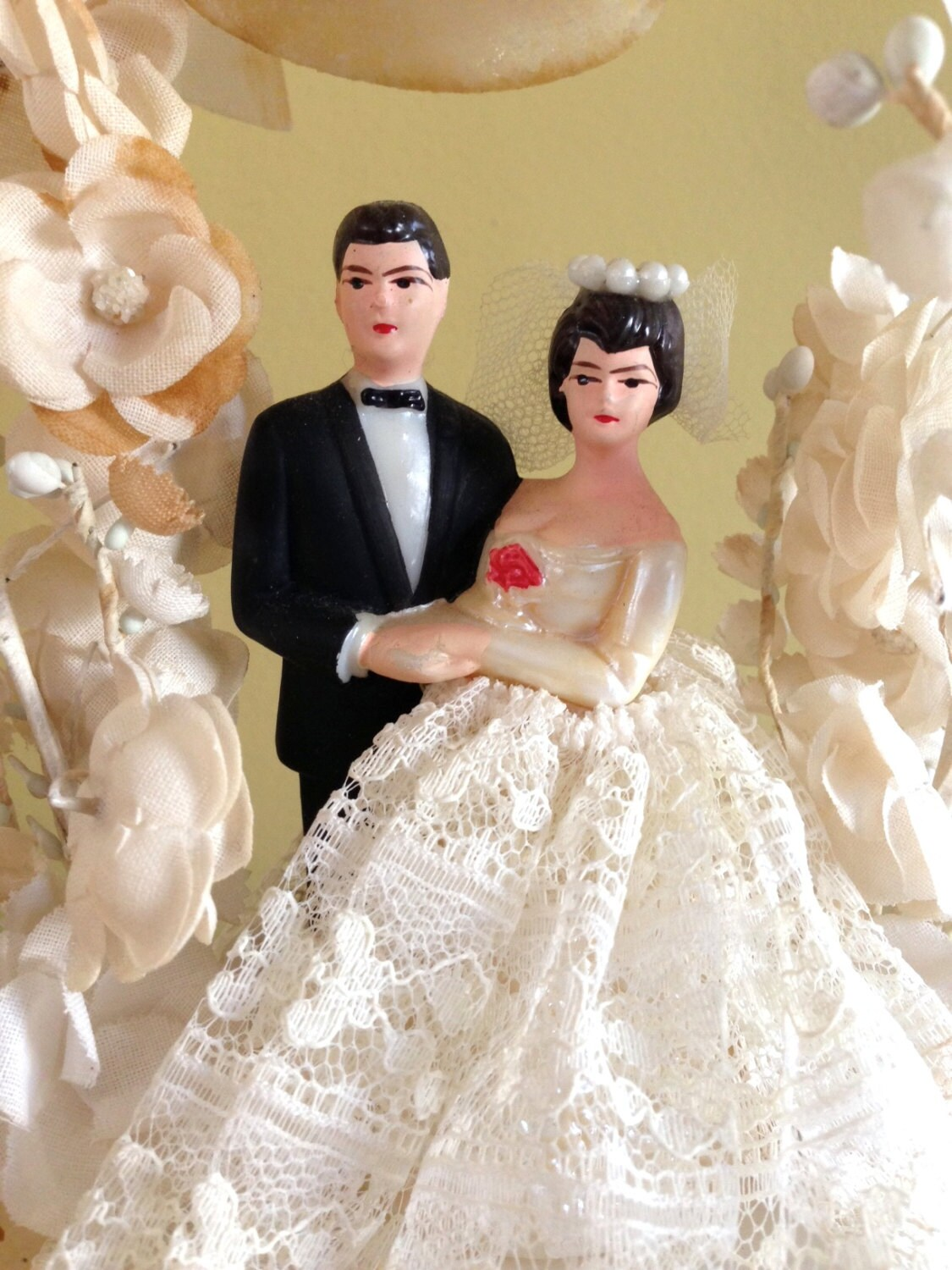 Vintage Wedding Cake Topper Vintage Bride and Groom Vintage