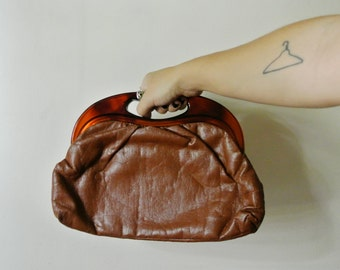Vintage Brown Handbag with Clear and Gold Closure Gift For Her