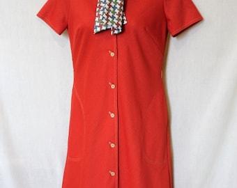 Orange 60s Mod Dress Vintage Plus Wiggle Dress Burnt Sienna 1X Robes Femmes Mandarin Collar