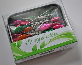 Lovely Leaflets, quilting and sewing pins