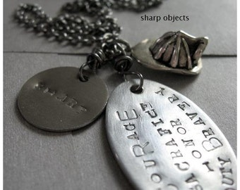CODE of HONOR - firefighter stamped tag, hardware, miniature silver metalwork charm fire helmet & chain NECKLACE