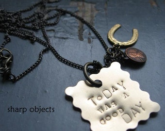 TODAY was a GOOD DAY - stamped brass tag, miniature lucky penny & horse shoe metalwork charm, gunmetal annealed chain neckalce