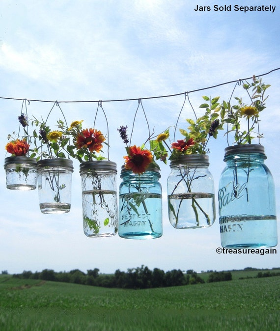 Diy Mason Jar Wedding Ideas: Hook Top Flower Hangers DIY Mason Jar Lids Wedding