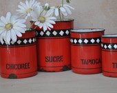 Vintage French Enamelware - Red and Black Kitchen Canisters