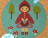 Little Red Riding Hood cross stitch, needlepoint, tapestry pattern. Fairytale PDF, instant digital download,epattern.