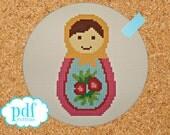 Russian Doll number one cross stitch, needlepoint pdf pattern. Matryoshka, babushka doll to stitch. Instant digital download