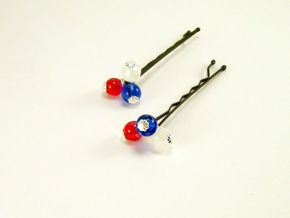 Patriotic Beaded Hair Pins~ Patriotic Accessories~Red White Blue Silver Casual Rustic Hair Pins~For Women or Teens~ Handmade