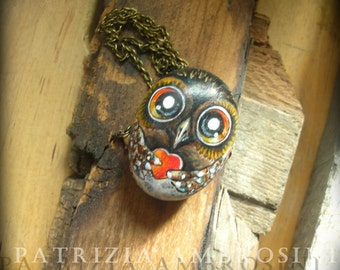 Owl No.25 -  painted stone art  rock painting handpainted stone miniature painted rock