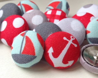 Pushpins,Push Pins,Thumbtacks,Thumb Tacks, Nautical Push Pins, Nautical Decor, Boat Pushpins,Red and Gray, Nautical,Anchor Pushpins,Anchors