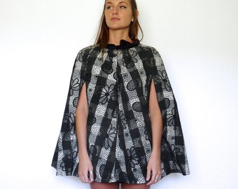 40s Black and Grey Floral Plaid Crinkle Rain Cape xs s m l