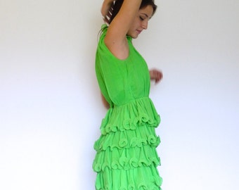 50s Bright Lime Tiered Ruffle Cupcake Circus Dress s m