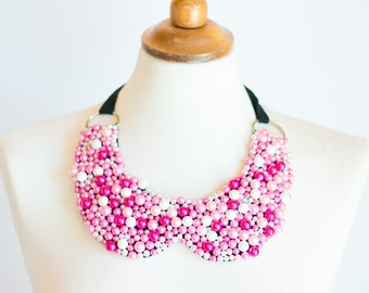 Beaded collar bib necklace Pink White, choker, pearl statement necklace, multicolored pink shades, detachable, black ribbon