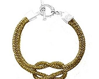 SilverSilk Mocha Love Knot Bracelet
