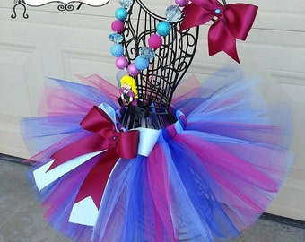 ANNA - Shimmer burgandy, Royal, and Ice blue tulle  infant/child Tutu with hairbow:  Newborn-5T