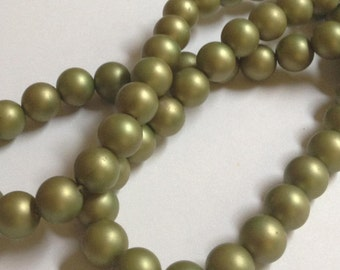 Olive - German Acrylic Beads - 8mm - Full Strand - Olive Green