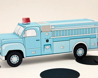 Vintage Fire Truck Favor Box - Baby Blue : DIY Printable Firetruck Gift Box | Fireman Birthday | Rescue | Firefighter - Instant Download