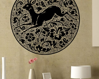 Vinyl Wall Decal Sticker Deer Flowers Circle 5317s