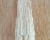 SALE Cream White Lace Dress /// 1940s Handmade for Simple Wedding or Party Size Small 4/6 Free Shipping