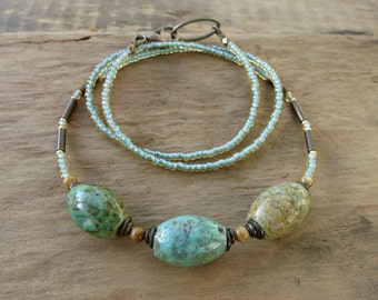 Mint Green Chrysocolla Necklace, rustic blue green and sandy ocher beaded stone necklace, handmade Boho Bohemian tribal hippie jewelry