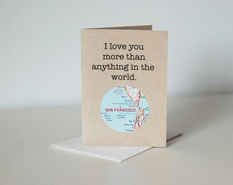 I Love You // Recycled Customized Map Card // Mini Greeting Card // Friendship Anniversary Romance