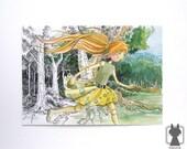 Alice in Wonderland illustration - doll Alice and dark forest fanart painting