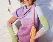 Rainbow Sherbet - M/L fun convertible versatile tassel scarf tunic thumbhole sweater in kid mohair and silk