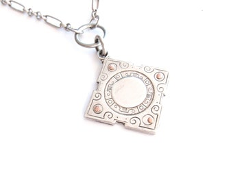 Plaid Candy — sterling fob medal with riveted plaid vintage tin assemblage necklace