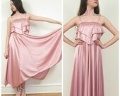 Vintage 1970s Pink Satin Party Dress / 70s Disco Party Dress / Small