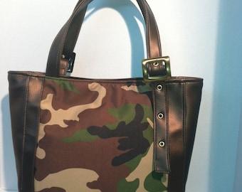 Camoflage Tote Bag - Ready To Ship - 100% Handmade