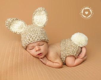 Newborn Bunny Photo Prop/ Furry Baby Bunny Prop/ Newborn Easter Prop/ Baby Bunny Hat/ Crochet Bunny Set