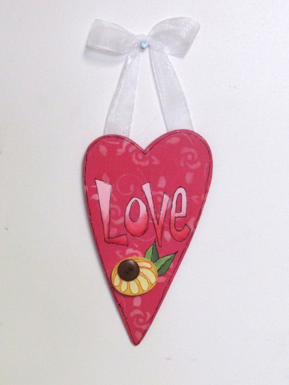 Hanging LOVE Heart with White Ribbon, Yellow or Purple Flower, Mother's Day Gift, Heart Shaped Wood Cutout, Hand Painted,  Tole Painted