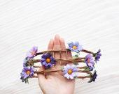 purple daisy flower crown - festival floral headband, wedding headpiece, garden, hairband, flower, pastel, summer, spring.