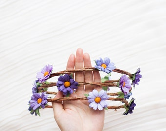 purple daisy flower crown - festival floral headband, wedding headpiece, garden, hairband, flower, pastel, summer, spring.