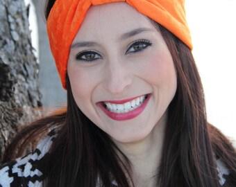 Womans Orange Crushed Velvet Stretch Adult Turban Headband - Gift For Her - Birthday Gift - Boho Headband - Gypsy Fashion