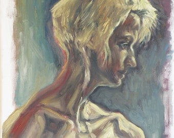 A portrait of Sasha in dramatic light, an original oil on canvas painting. 40-50 % discount upon request.