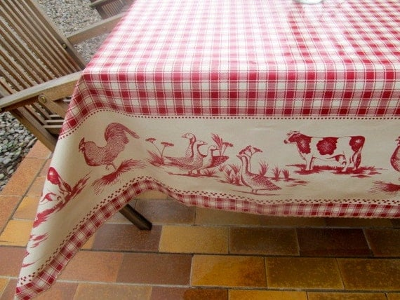 Rooster 55 X 41 Tablecloth Small Rectangle Oilcloth French