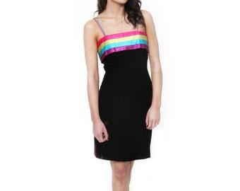 Rainbow Bright, Vintage, Black Velvet Stripe Party Dress, from Paris