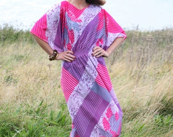 Cerise Feather, Vintage, 1970s Pink Batwing Maxi Dress, from Paris