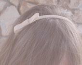 peach blush bow headband, for women and girls: elise