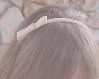 peach blush bow headband, for women and girls: elise