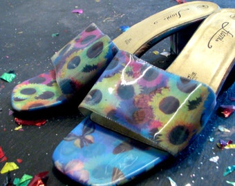 Hologram Vintage Butterfly & Rainbow Sunflower Slip On High Heel Sandals - 1990s Brightly Colored, Great Condition, Size 7 1/2 - 90s Chic