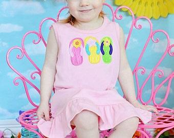 Beach Dress, Beach Outfit, Flip Flop Dress, Appliqued Dress, Monogrammed Dress, Toddler Dress, Summer Dress, Sundress, Baby Girl