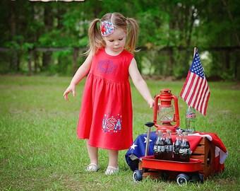 4th of July Dress, July 4th Dress, Patriotic, Appliqued Dress, Embroidered Dress, Monogrammed Dress, Toddler Dress, Summer Dress, Sundress