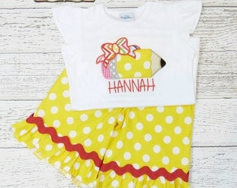 Back to School Outfit, Pencil Ruffle Capri or Short Set, Applique Outfit, Toddler Girls Outfit, Personalized Shirt