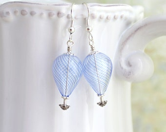 Something blue hot air balloon earrings - perfect jewelry for your hot air balloon wedding - bridal jewelry