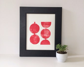 Hand pulled Relief Red Modern Linocut Geometric Circles Art Print  8 x 10 Modern home decor